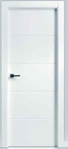Puerta lacada en blanco con cuatro fresados horizontales